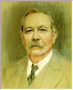 Sir Arthur Conan Doyle. Born in Edinburgh where he trained as a doctor. Extremely successful writer of the Sherlock Holmes stories. A sportsman: a boxer, a cricketer who once dismissed WG Grace. The first Englishman to cross an Alpine pass on skis. Later an apostle of spiritualism and the paranormal. Died England of a heart attack.