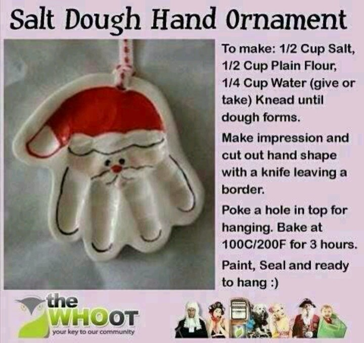 Salt Dough hand impression santa instructions.