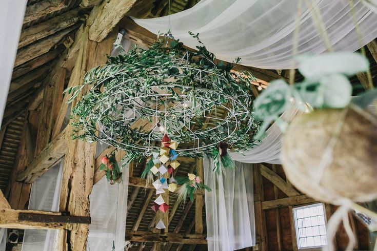 Our chandelier in foliage green meets geometric