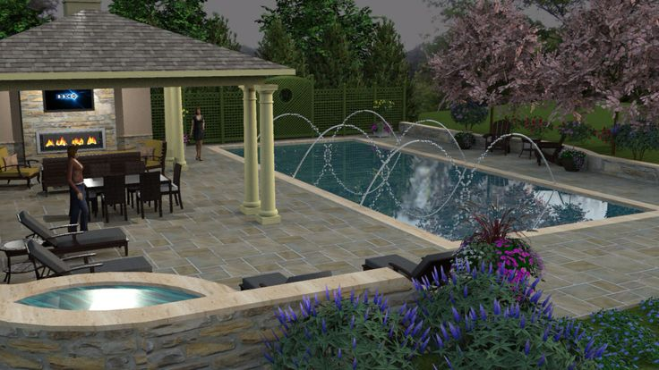Pool Pavilion Spa 3d Pool Patio Shaderlight Sketchup