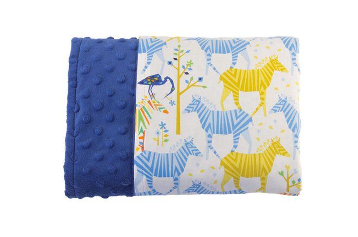 Blue Zebras Reversible Minky Blanket - Levi & Evelyn