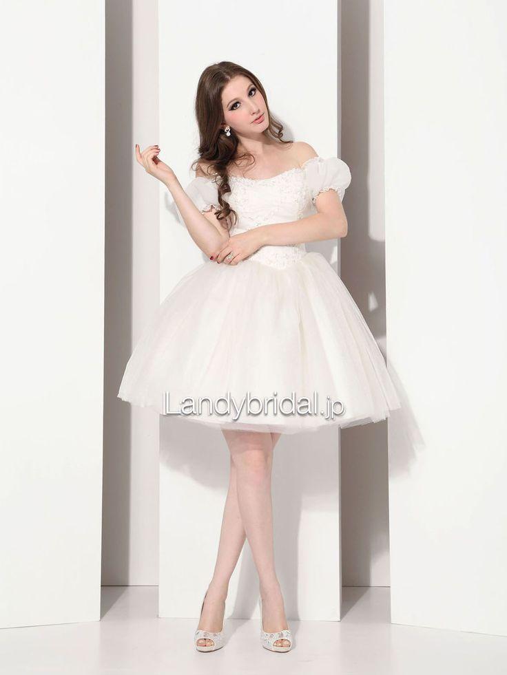 ウェディングドレス ミニ ショート プリンセス オフショルダー アイボリー 二次会ドレス お姫様 E12007