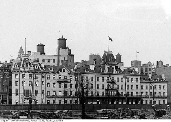 Queen's Hotel, Toronto Canada, 1915. Parts of the Queen's Hotel were built in 1844. This hotel was replaced by The Royal York, which was completed in 1929.