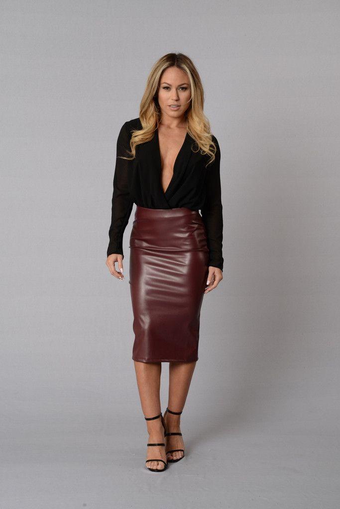Rita Skirt Burgundy Black Bodysuit Fashion Skirts