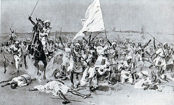 The Dervish attack at the Battle of Omdurman