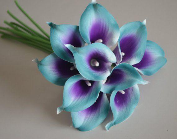 "10/"" Bouquet-Black silk rose,real touch calla lily w//purple center.rhinestone"