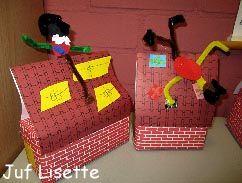 Piet op het dak Benodigdheden: Klein doosje, dakpannen- en steentjespapier, plakband, gekleurd papier, lijm, kleurpotloden, chenilledraad, kniptangetje Pak het doosje als een cadeautje in met steentjespapier en plakband. Plak het dak op het huisje. Knip vierkantjes gekleurd papier en teken hier strikken op. Plak de cadeautjes op het dak. Lijm een pietje op het dak vast.