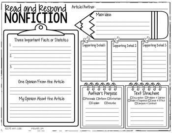 Nonfiction Graphic Organizer for ANY Article or Nonfiction PassageThis graphic organizer will help your students to think critically about any nonfiction article or passage you've read.Students will find facts, opinions, express their own opinion, main idea and supporting details, author's purpose, and text structure. by melissagarsia