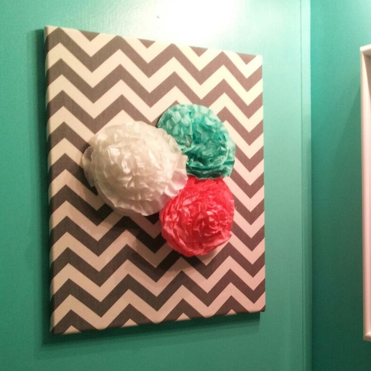 Fabric Covered Canvas With Coffee Filter Flowers Coral And Aqua Bathroom Decor