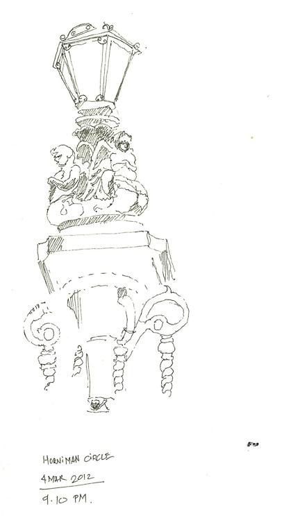 Beautiful iron lamp post at horniman circle, bombay