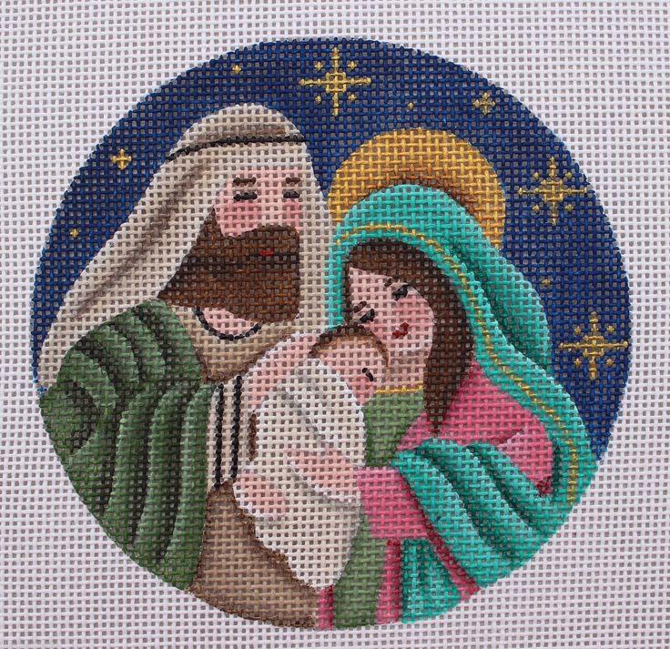 Rebecca Wood Designs Nativity Ornament Hand Painted Needlepoint Camvas   eBay