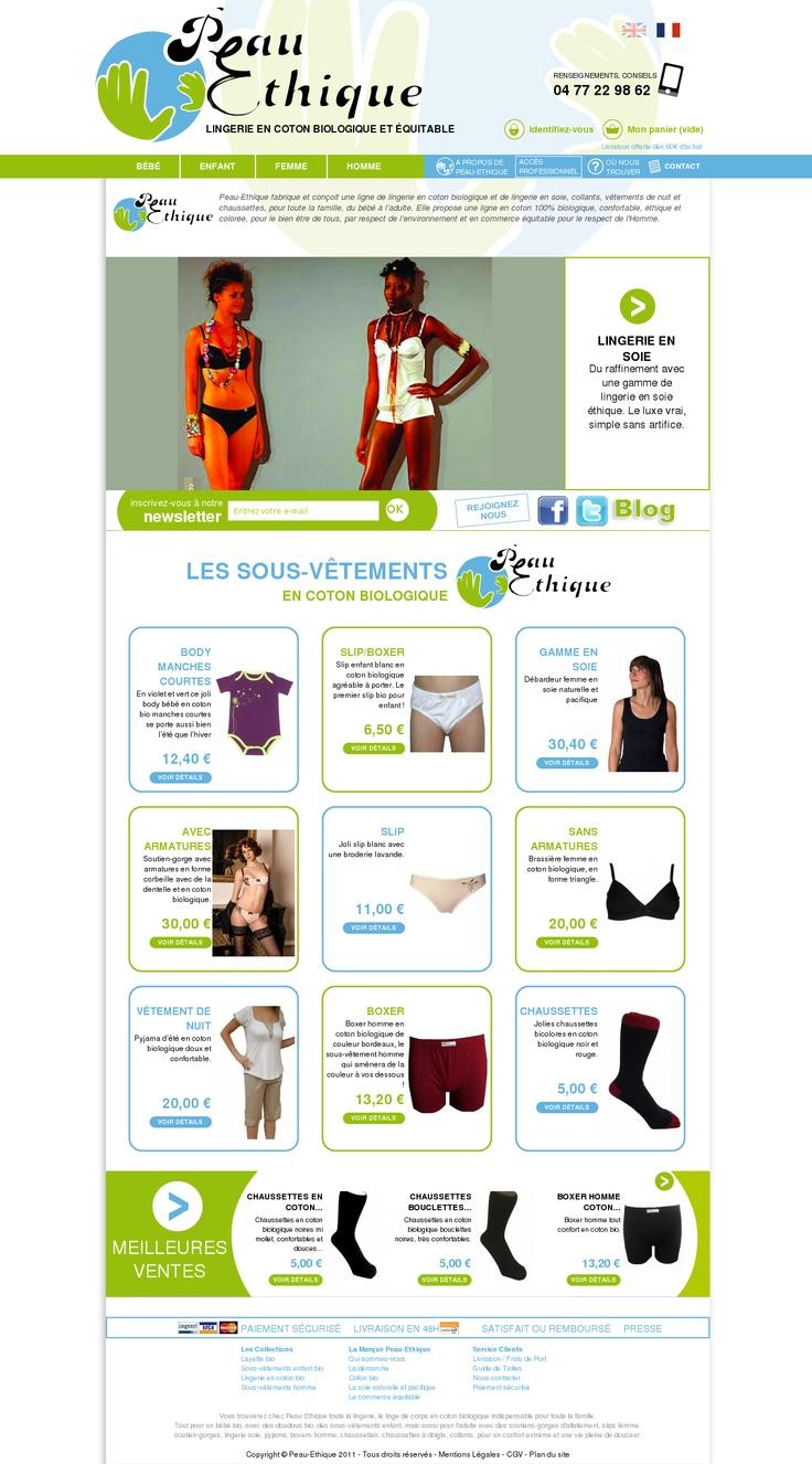 www.peau-ethique.com Peau-Ethique lingerie en coton biologique, lingerie en soie, chaussettes, layette et doudou pour grands et petits. Coton biologique et commerce équitable