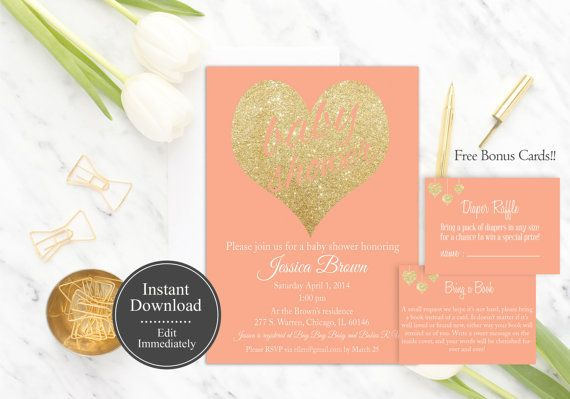 Coral Baby Shower Invitation Editable PDF Instant Download by PucciPaperie