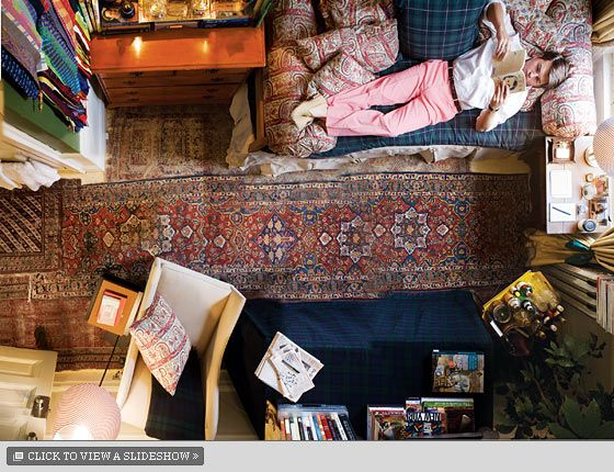 """This is Maximilian Sinsteden's dorm room. He's a college senior. He's already got clients."" I'm in the process of having a bed like this built into our family room bay window. The giant bolsters are amazing."