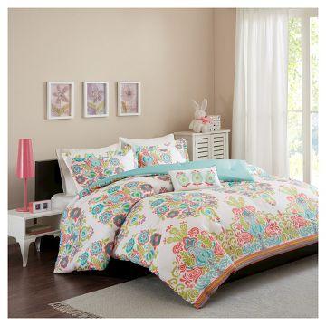 Mandy Damask Print Comforter Set - Coral