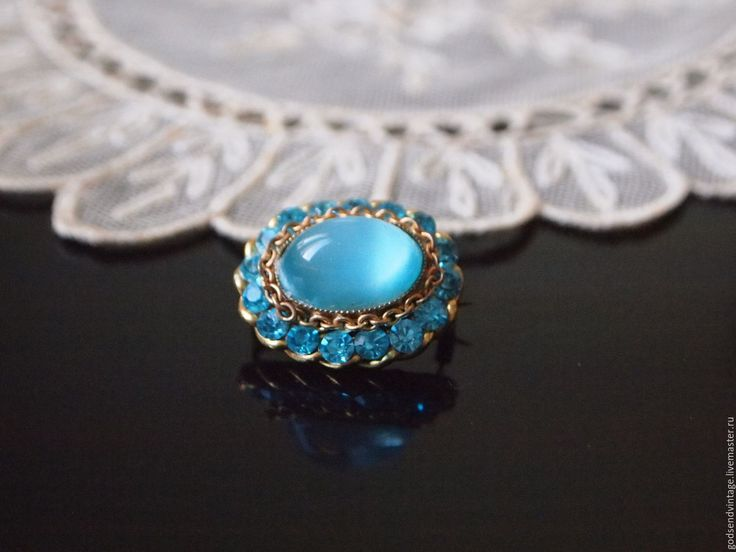 Купить Брошь Голубая бездна, винтаж, Англия - бирюзовый, голубой, винтаж, винтажная брошь