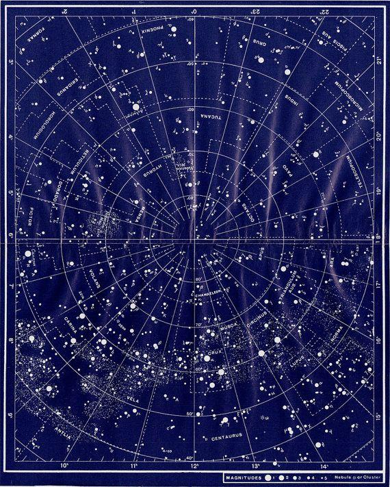 VINTAGE SCIENTIFIC PRINT  - zodiacal constellations 1950s Very decorative original vintage scientific print, good paper, originally comes