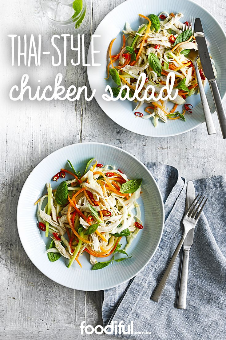 Drizzled with a beautiful palm sugar, garlic & lime dressing, this shredded chicken salad is made with capsicums, cabbage, carrot & a tonne of lovely spices. This salad takes 15 minutes and serves two people.