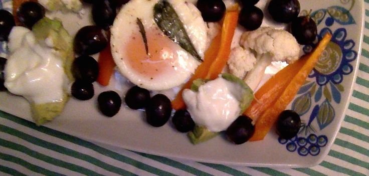 Coddled eggs drizzled with homemade sage leaf EVOO/salt, fresh lavender. Served w black grapes, full fat yoghurt, raw veggies: orange bell pepper slivers, avocado, cauliflower