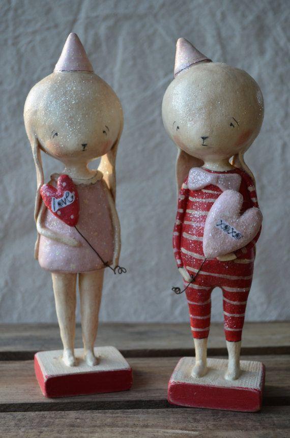 Folk Art Paperclay Large Valentine Bunny boy w/ by apinchofprim
