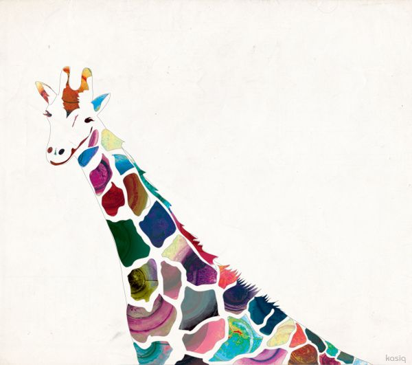 kasiQ: Ideas, Inspiration, Animal Art, Illustration, Giraffe Art, Things, Rainbow, Giraffes
