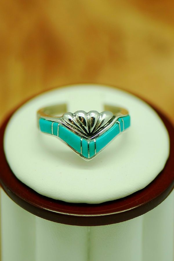 Inlay Navajo Turquoise Ring | Turquoise Native American Jewelry | Native American Turquoise Jewelry. By Lucy Cayatineto