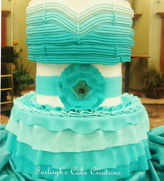 Spring Summer Blue Green White Indoor Reception Multi-shape Round Ruffles Ruffles Wedding Cakes Photos & Pictures - WeddingWire.com