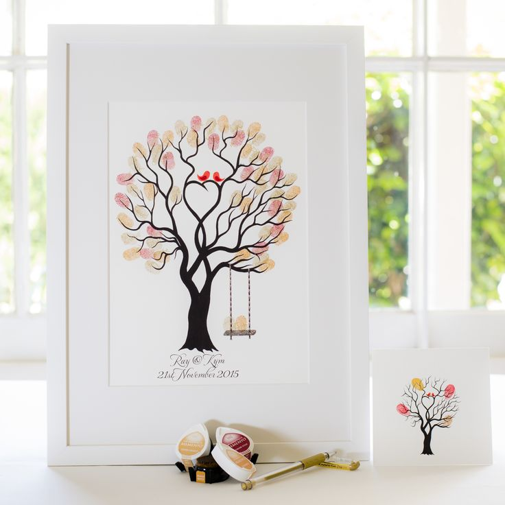 Unity Tree + swing - Red birds guest book for Wedding, funeral or other celebration. Illustrated by Ray Carter - The Fingerprint Tree® Made-to-order, ships worldwide. The Fingerprint Tree®, bespoke gifts you'll treasure!