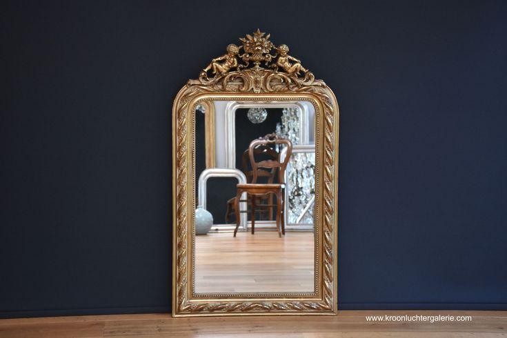 Antiker französischer Spiegel, Blattgold (H:118xB:68cm) Ref. 567 www.kroonluchtergalerie.com