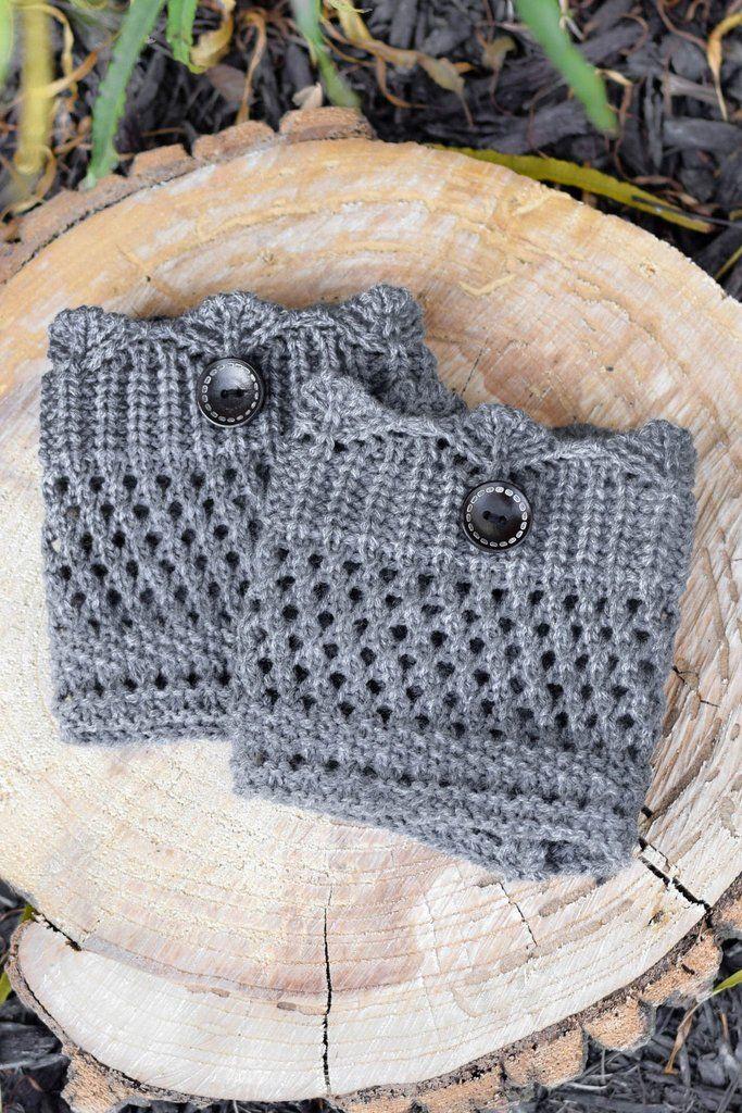 Grey Crochet One Button Boot Cuffs – bootcuffsocks.com