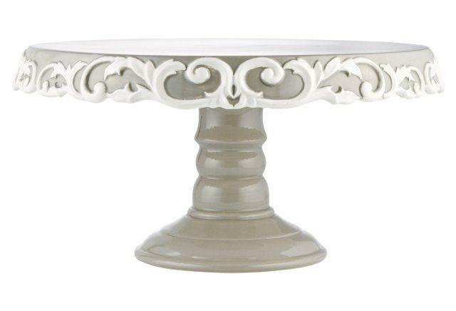 Scroll Cake Plate, Gray