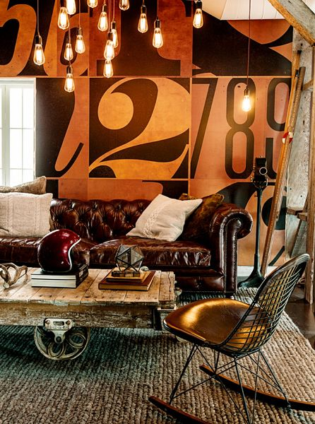 ♂ masculine interior design living room with abstract modern wall deco with rustic home furniture