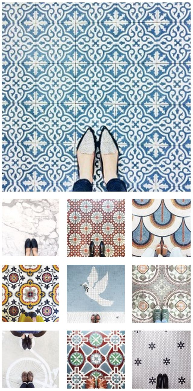"""But first, let me take a #selfeet. Explore a new perspective with Instagrammer @ihavethisthingwithfloors and see what happens """"When feet meet nice floors"""" (and get some great new shoe ideas). It's a mosaic-lovers paradise!"""