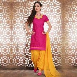 Pink - Yellow Unstitched Patiala Suit