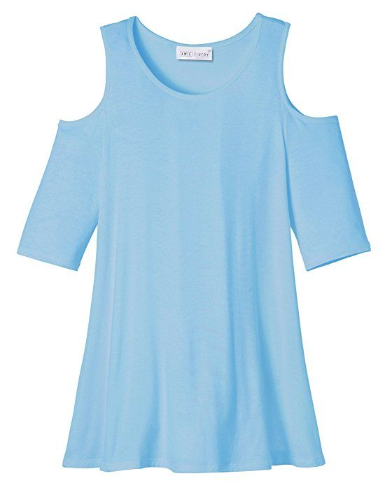 ea3cd95d2f3c07 Amie Finery Cold Shoulder Tops For Women Open Shoulder Tunic Tops For  Leggings Made In USA Small Faded Denim Blue at Amazon Women s Clothing …