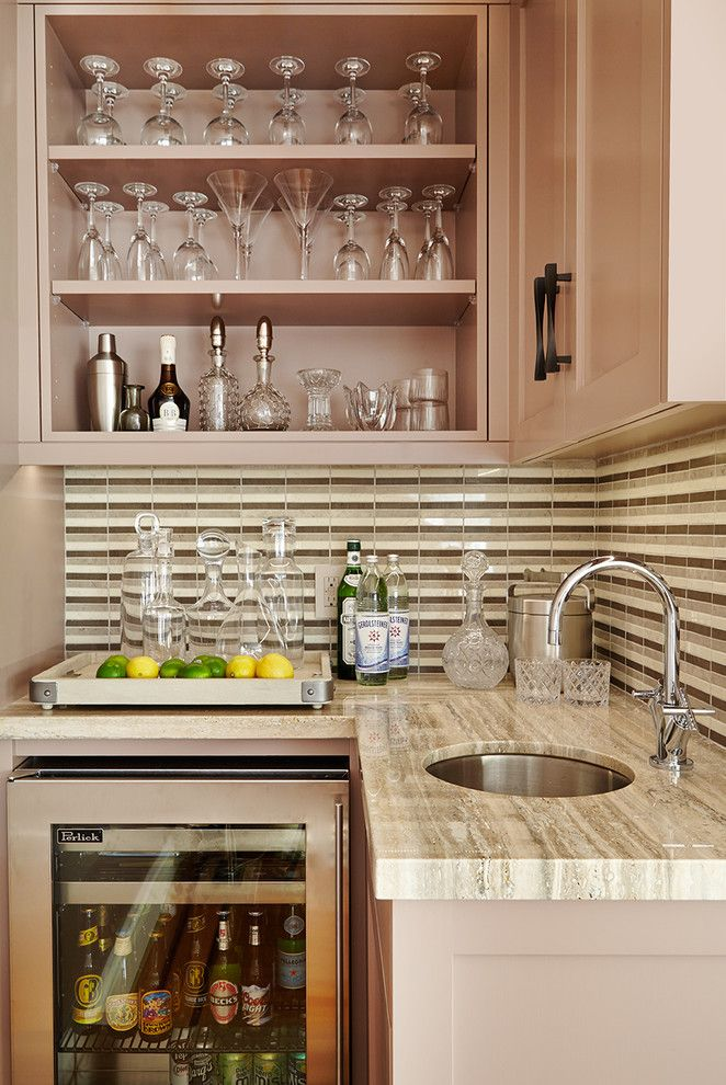 bar with brown wooden cabinet white marble counter top near sink of small bar