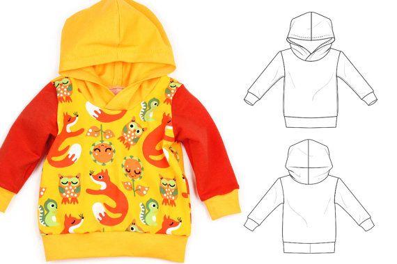 Bambins et télécharger le modèle bébé hoodie pdf couture, grand garde-robe !  Vous aurez besoin :  -Tricot pour Sweat-shirt et capot : Jersey,