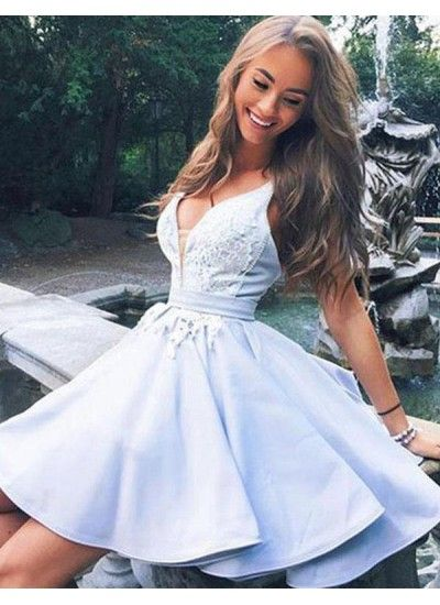 Customized Fancy Short Homecoming Dresses, Light Blue Homecoming Dresses, V Neck Homecoming Dresses, Sleeveless Homecoming Dresses