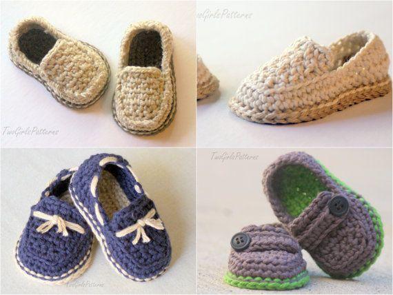 PATRÓN de ganchillo #120 - bebé Lil' mocasines patrón pack viene con todas las 4 variantes - mocasín de botón de bebé, zapato del barco, mocasines casuales modernos,