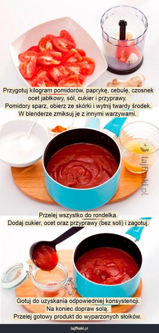 Jak zrobić domowy ketchup? - Przygotuj kilogram pomidorów, paprykę, cebulę, czosnek ocet jabłkowy, sól, cukier i przyprawy.  Pomidory sparz, obierz ze skórki i wytnij twardy środek. W blenderze zmiksuj je z innymi warzywami.              Przelej wszystko do rondelka. Dodaj cukier, ocet oraz przyprawy (bez soli) i zagotuj.          Gotuj do uzyskania odpowiedniej konsystencji. Na koniec dopraw solą.   Przelej gotowy produkt do wyparzonych słoików.