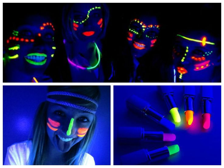 Produtos para a pintura facial na festa neon