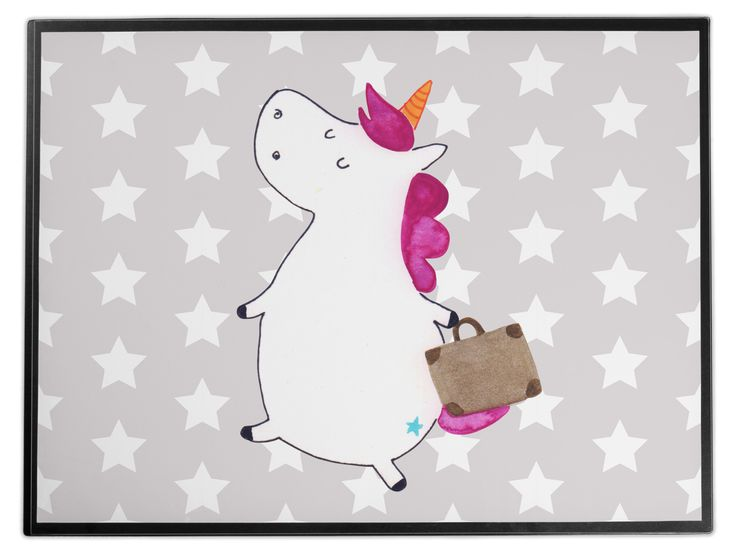 Schreibtischunterlage Einhorn Koffer aus Kunststoff  Schwarz - Das Original von Mr. & Mrs. Panda.  Die Schreibtischunterlage wird in Deutschland exklusiv für Mr. & Mrs. Panda gefertigt und ist aus hochwertigem Kunststoff hergestellt. Eine ganz tolle Besonderheit ist die einzigartige Einlegelasche an der Seite, mit der man das Motiv kinderleicht gegen andere Motive von Mr. & Mrs. Panda tauschen kann.    Über unser Motiv Einhorn Koffer  Das reisefreudige Einhorn ist perfekt für Leute, die im…