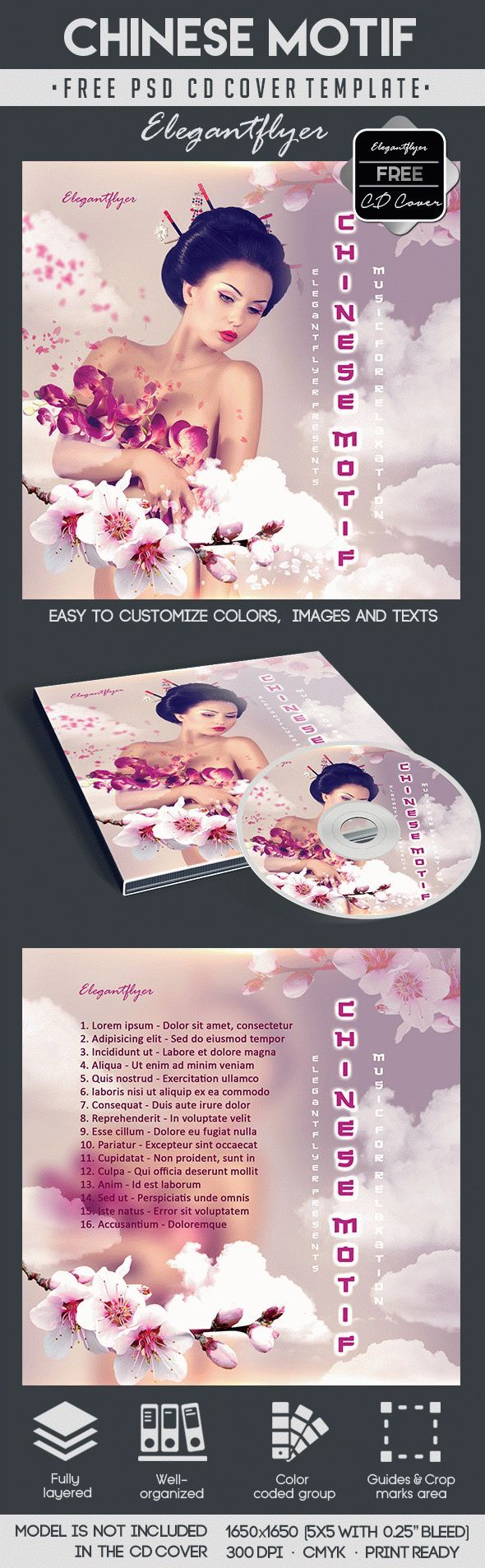 Chinese Motif – Free CD Cover PSD Template