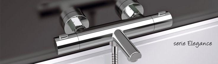 EXPOSED THERMOSTATIC BATH MIXER with duplex shower kit. / MISCELATORE TERMOSTATICO VASCA ESTERNO completo di kit doccia. Art. EQ 02. ELEGANCE COLLECTION by Remer Rubinetterie.