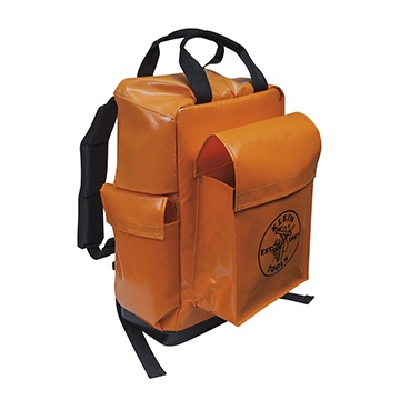 #KleinTools Lineman Backpack (5185ORA) easily accommodates helmets, belts and other equipment