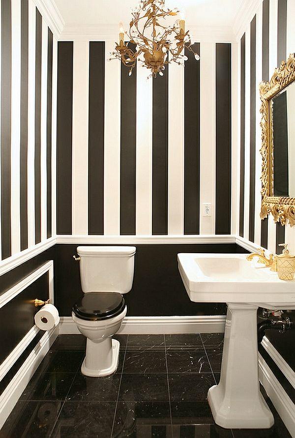 badezimmer wandgestaltung streifenmuster schwarz weiß