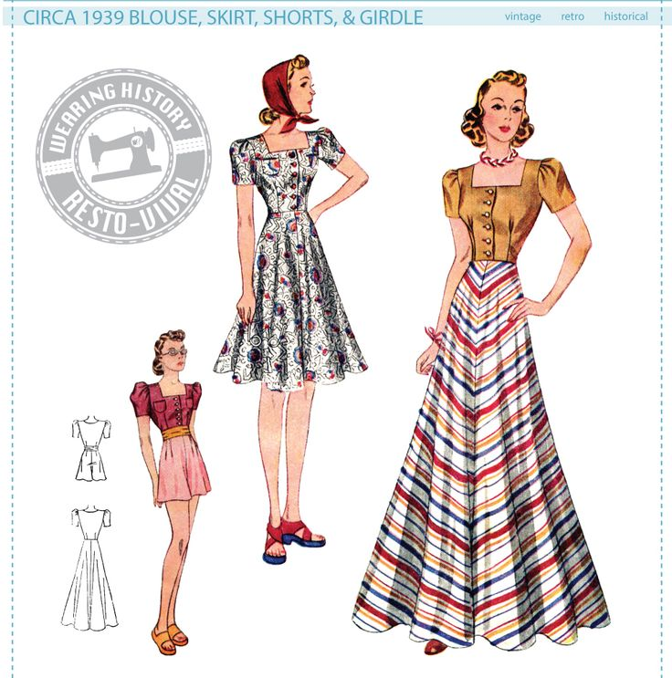 Circa 1939 Blouse, Skirt, Shorts & Girdle Pattern - Wearing History