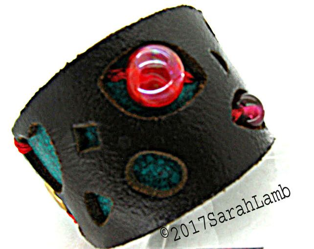 leather cuff with lampwork glass beads £20.00