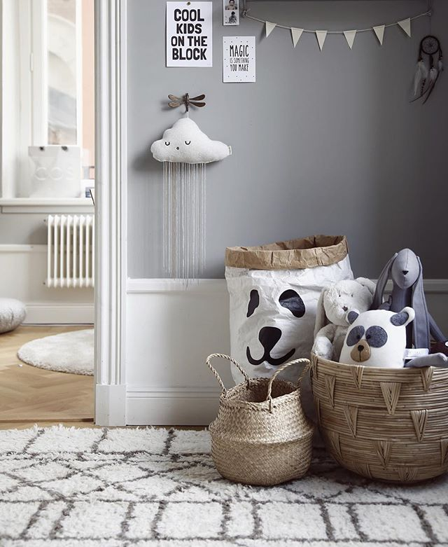 Love the grey wallpaper with white lower trim