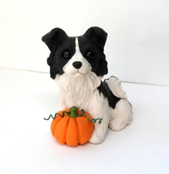 Border Collie Autmun Pumpkin Sculpture By Raquel At Thewrc Hand Sculpted Polymer Clay Collectible Dog Cute Clay Collie Clay